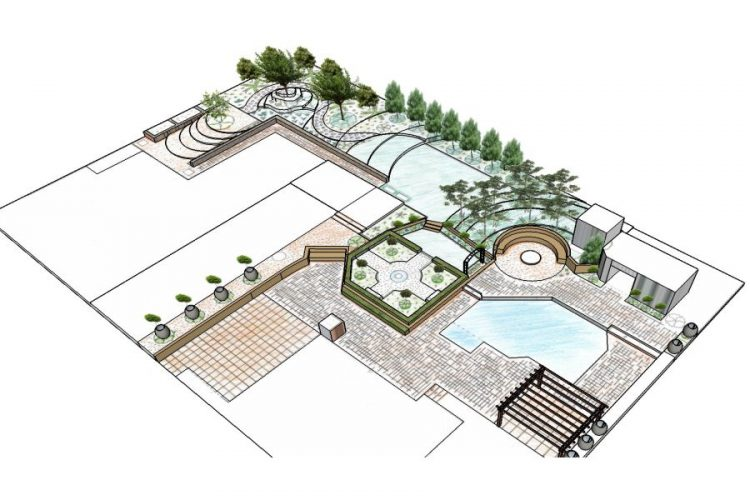 The garden is structured from formal to informal spaces.